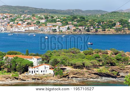 Cadaques View From The Heights. Aerial View Pyrenees Mountains And A City By The Sea. Spain. Catalon