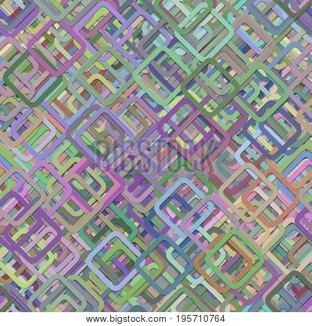 Repeating abstract random square background pattern - vector graphic design from diagonal rounded squares in colorful tones with shadow effect