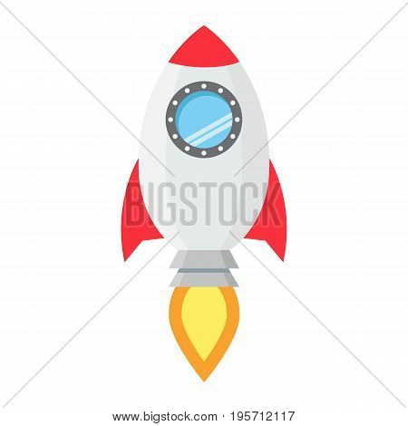 Start up flat line icon, business and rocket, vector graphics, a colorful solid pattern on a white background, eps 10.