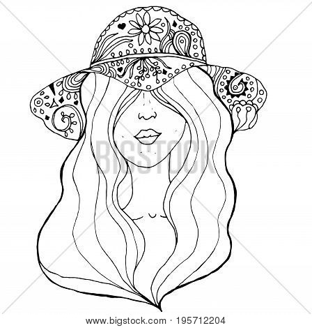 Young pretty girl with hairs wearing doodle hat. Fashion illustration. Uncolored image can be used as adult coloring book, coloring page, invitation, greeting card.