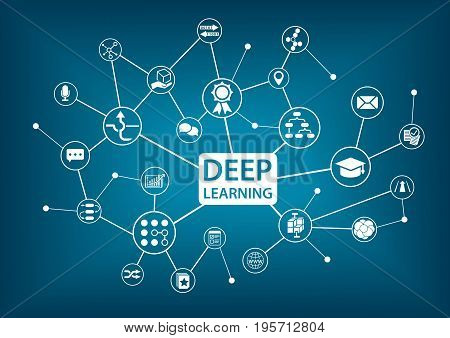 Deep learning infographic as vector illustration on blue background