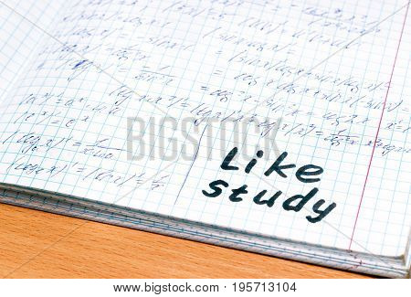 School notebook in mathematics section trigonometry inscription in English like study