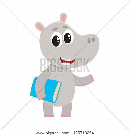 Cute little hippo student character standing with book under arm, cartoon vector illustration isolated on white background. Little hippo animal student character with a book, back to school concept