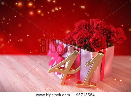 birthday concept with red roses in the gift on wooden desk. 3D render - forty-first birthday. 41st