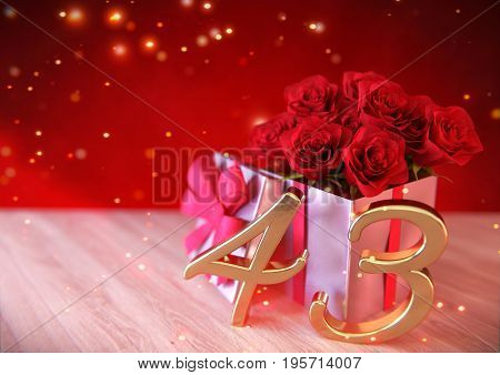 birthday concept with red roses in the gift on wooden desk.3D render - forty-third birthday. 43rd