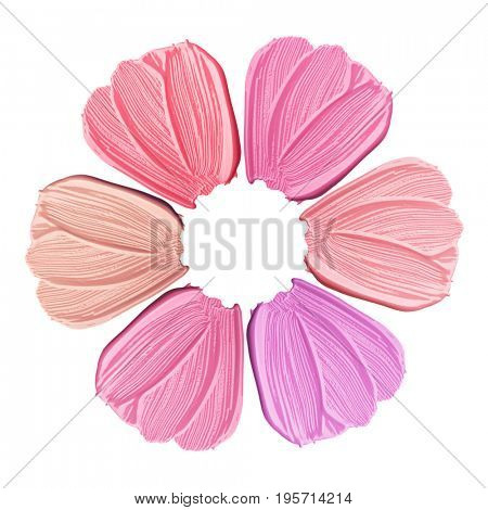 Collection of smears of lipstick. A flower from smears of lipstick. Isolated on white background