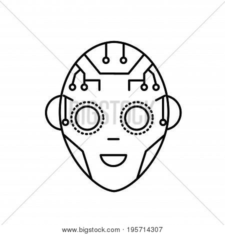 line head in interface and cyberspace system connection vector illustration