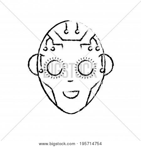 figure head in interface and cyberspace system connection vector illustration