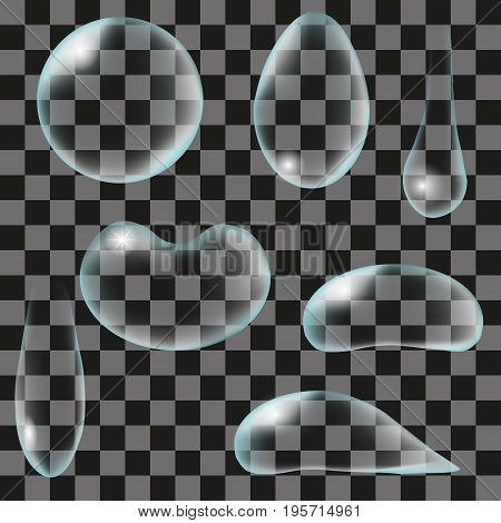Set of realistic water droplets on a transparent background. 3d vector illustration