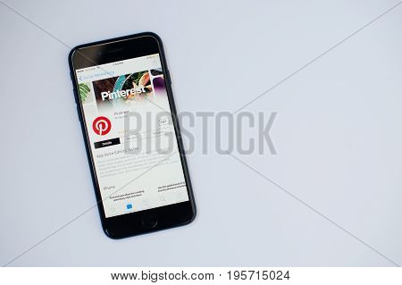 Kyiv, Ukraine - Jul 11,2017: Apple Iphone 7 With Pinterest Application On The Screen At App Store Is