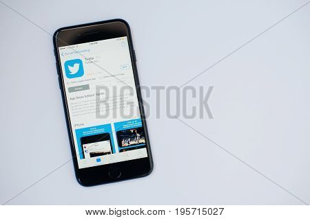Kyiv, Ukraine - Jul 11,2017: Apple Iphone 7 With Twitter Application On The Screen At App Store Isol