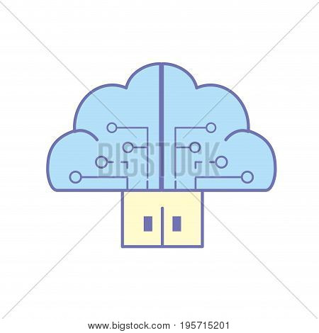 brain cloud data with circuits and door connection vector illustration