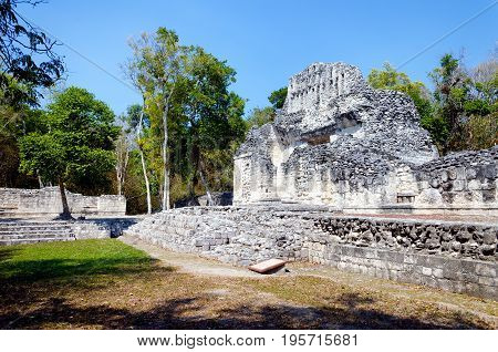 Ancient Mayan temple an ruins in Chicanna Mexico