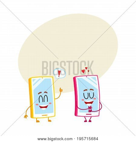 Two cartoon mobile phone characters, one hugging itself with love, another showing thumb up, vector illustration with space for text. Two cartoon mobile phone, smartphone characters