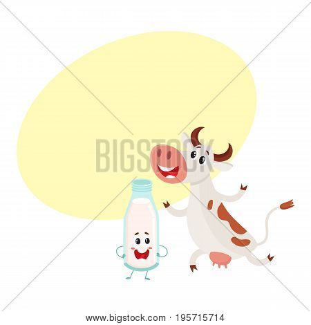 Funny farm cow and milk bottle characters with smiling human faces, cartoon vector illustration with space for text. Cute and funny cow and milk bottle characters, standing and smiling