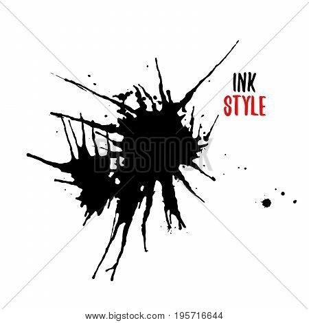 Two blots on white background in ink style. Vector illustration of two blots