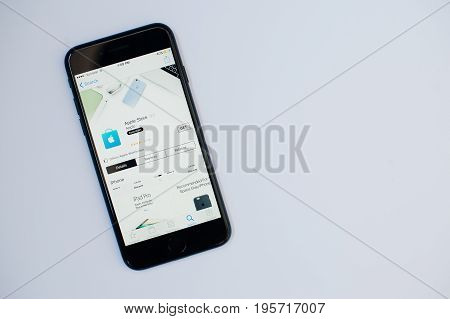 Kyiv, Ukraine - Jul 11,2017: Apple Iphone 7 With Application On The Screen At App Store Isolated On