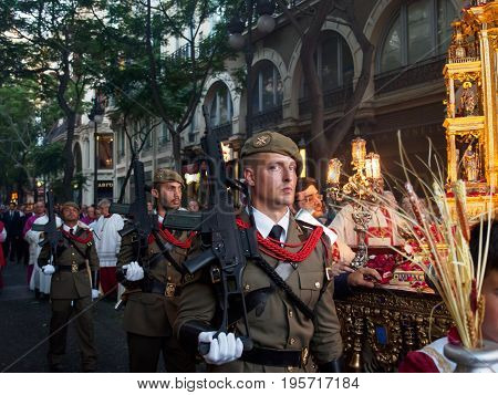June 19 2017. Spanish soldiers guard the Custodia the largest Christian monstrance in the world during the celebration of Corpus Christi. Valencia Spain. Travel and celebration editorial concept.