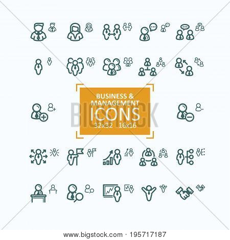Set of vector fine line icons, collection of business people icons, personnel management, agreement, handshake, leader and his team, communication, subordination. 32x32 and 16x16 pixel perfect