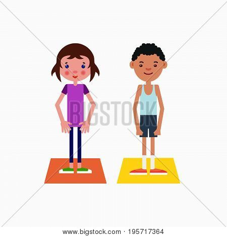 Girl european appearance and african-american boy got ready for the physical exercises.