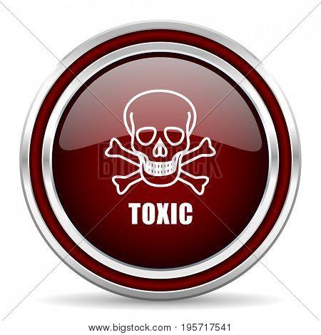 Toxic skull red glossy icon. Chrome border round web button. Silver metallic pushbutton.