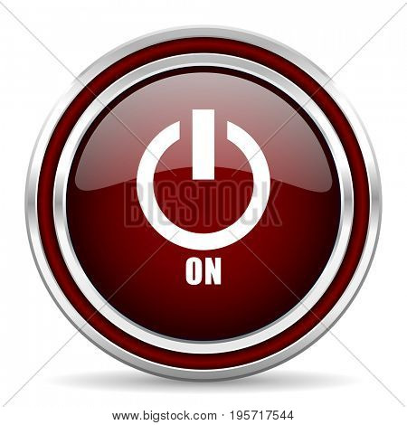 Power on red glossy icon. Chrome border round web button. Silver metallic pushbutton.