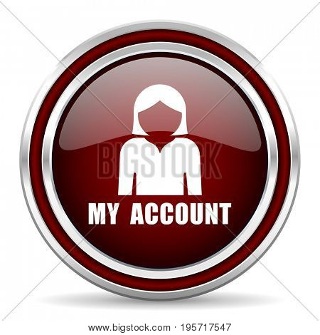 My account red glossy icon. Chrome border round web button. Silver metallic pushbutton.