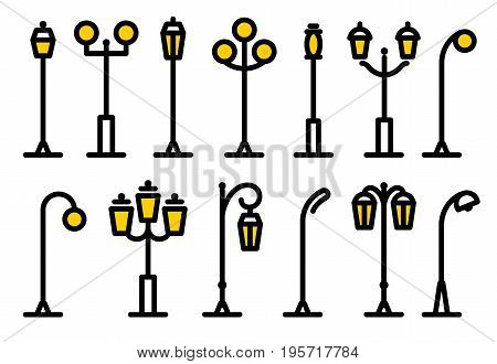 Outline streetlight icons collection. Isolated parks design element vector illustration