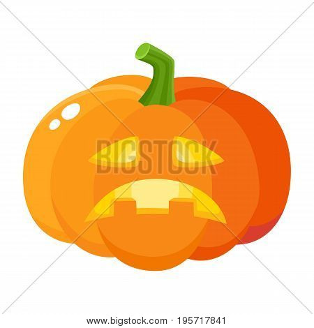 Sad, frustrated pumpkin jack-o-lantern, Halloween symbol, cartoon vector illustration isolated on white background. Cartoon style pumpkin lantern with sad carved out face, Halloween decoration element