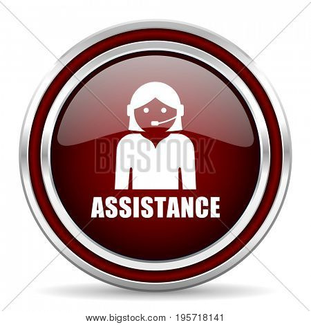 Assistance red glossy icon. Chrome border round web button. Silver metallic pushbutton.