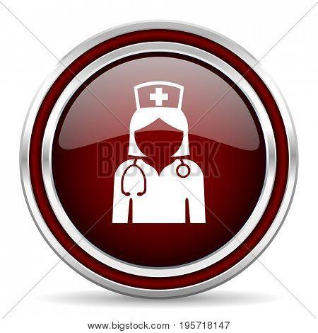 Nurse red glossy icon. Chrome border round web button. Silver metallic pushbutton.