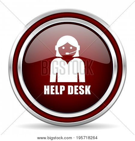 Help desk red glossy icon. Chrome border round web button. Silver metallic pushbutton.