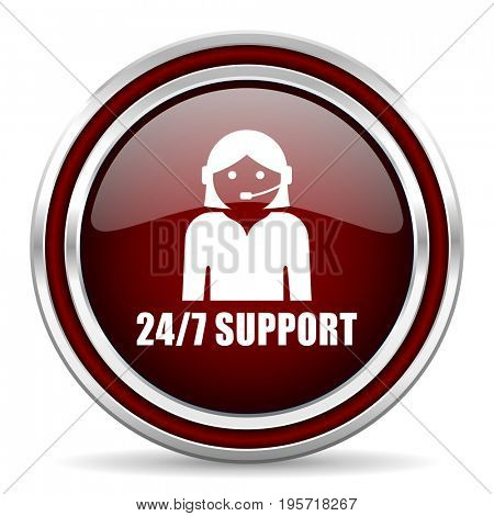 24/7 support red glossy icon. Chrome border round web button. Silver metallic pushbutton.