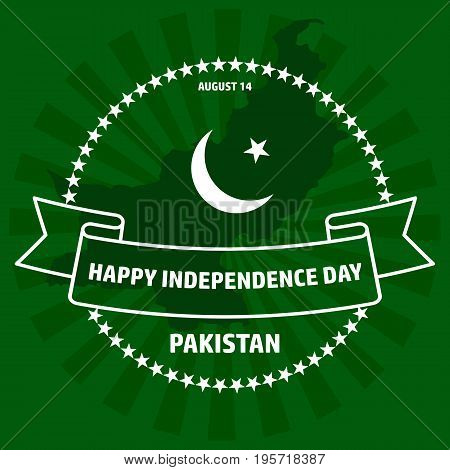 Vector illustration of Pakistan Independence Day. Greeting card. Label on green background.