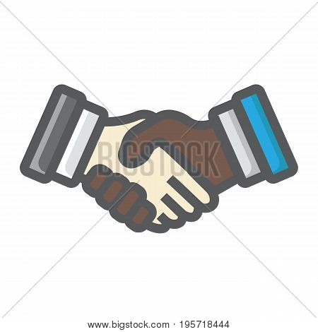 Business handshake colorful line icon, contract and agreement, vector graphics, a filled pattern on a white background, eps 10.