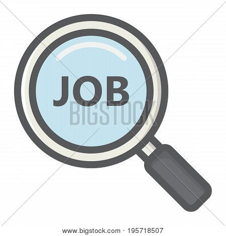 Search job colorful line icon, business and magnifying, vector graphics, a filled pattern on a white background, eps 10.