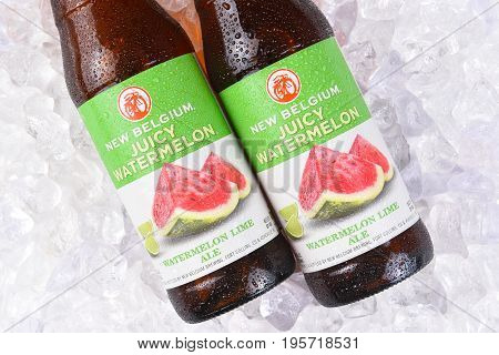 IRVINE CA - JULY 17 2017: New Belgium juicy Watermelon Lime Ale bottles on ice. A craft brewery located in Fort Collins Colorado. It was opened in 1991 by Jeff Lebesch and Kim Jordan.