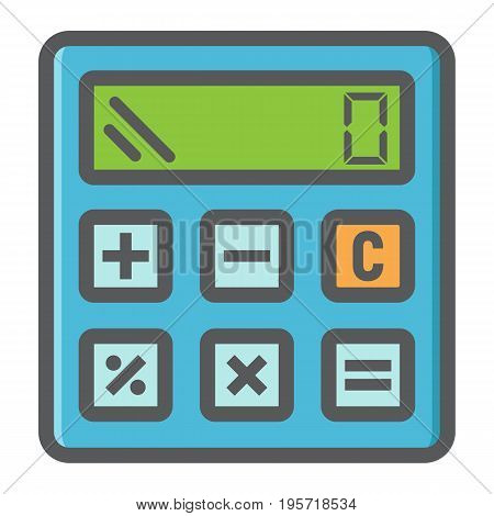 Calculate colorful line icon, business and calculator, vector graphics, a filled pattern on a white background, eps 10.