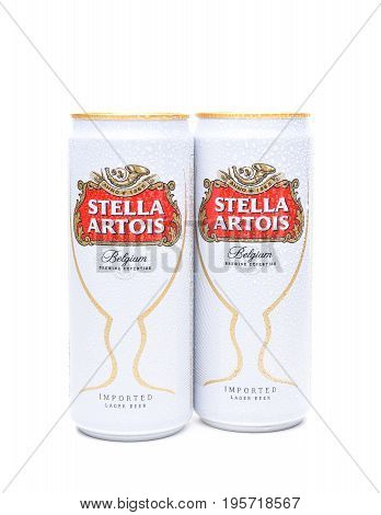 IRVINE CA - JULY 17 2017: Cans of Stella Artois Beer on white. Stella has been brewed in Leuven Belgium since 1926 and launched as a festive beer named after the Christmas star.