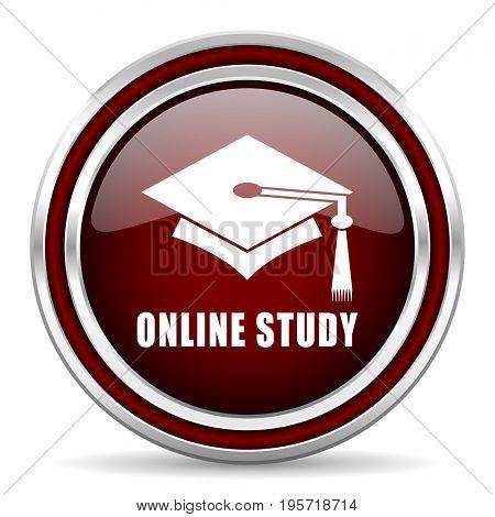 Online, study red glossy icon. Chrome border round web button. Silver metallic pushbutton.