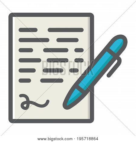 Pen signing colorful line icon, business contract and signature, vector graphics, a filled pattern on a white background, eps 10.