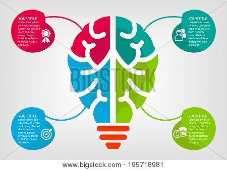 Colorful infographic for business report and presentation with four elements using a combination of brain and light bulb as a symbol.