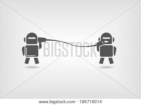Machine to machine communication concept of robots sending digital messages