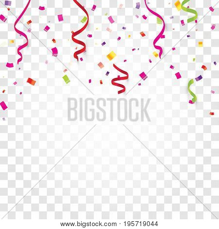 Colorful confetti, serpentine or ribbons falling on white transparent background vector illustration. Party, festival, fiesta design decor poster element