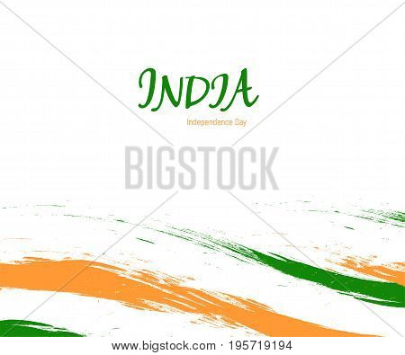 Independence day of India watercolor sign on white background with flag in a national color. Indian national three color flag symbol vector illustration. August 15 holiday banner