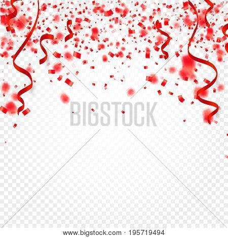 Red confetti, serpentine or ribbons falling on white transparent background vector illustration. Party, festival, fiesta design decor poster element