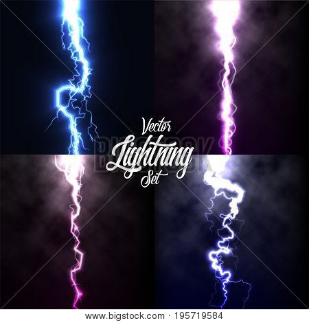 Lightning flash light thunder spark on black background with clouds set.Vector spark lightning or electricity blast storm or thunderbolt in sky.Natural phenomenon of human nerve or neural cells system.