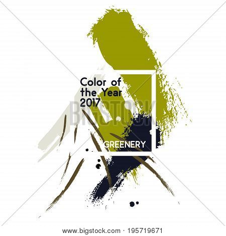 Set of green color brush strokes and texture in watercolor style. Element in the color trend 2017, yellow green shade that evokes first day of spring. Vector illustration with color of year -greenery