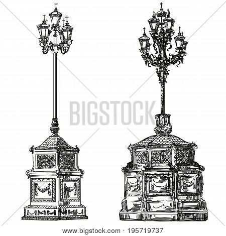 Ancient lanterns near Cathedral of Christ the Savior in Moscow vector isolated hand drawing illustration