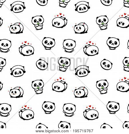 Seamless Pattern with Cute Panda Asian Bear Vector Illustrations, Collection of Chinese Animals Simple Texture Elements, Black and White mammals Icons set